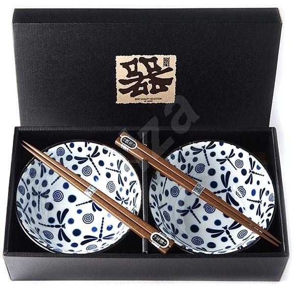 Made In Japan Blue Dragonfly Bowl Set with Chopsticks 500ml 2pcs - Bowl Set