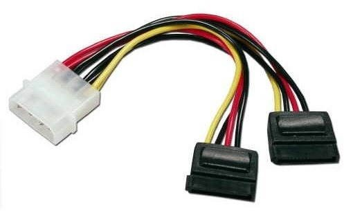ROLINE Internal Y-Power Cable, 4-Pin HDD to 2x SATA, 0.12m - Data cable
