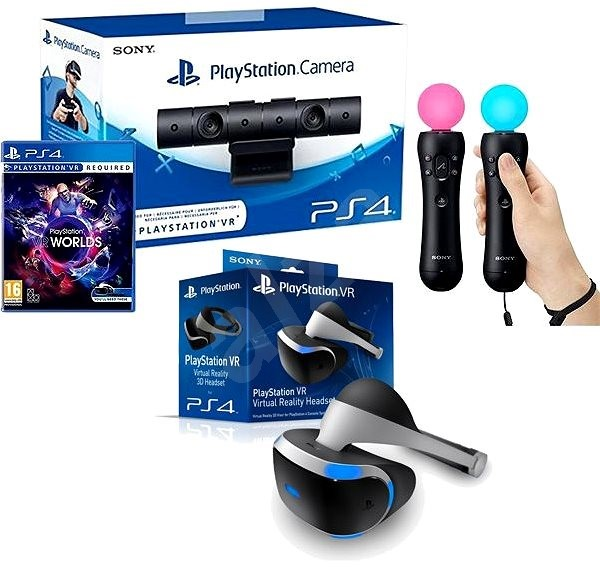 PlayStation VR for PS4 + VR Worlds game + PS4 camera + PS MOVE Twin
