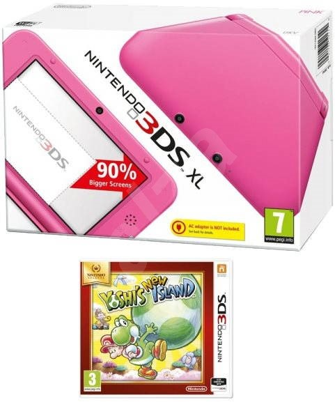 Nintendo 3DS XL + Pink Yoshi's New Island Select - Game Console