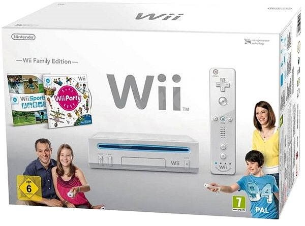 Nintendo Wii White + Wii Party + Wii Sports - Game Console