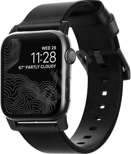 Nomad Leather Strap Black Apple Watch 44/42mm - Watch band