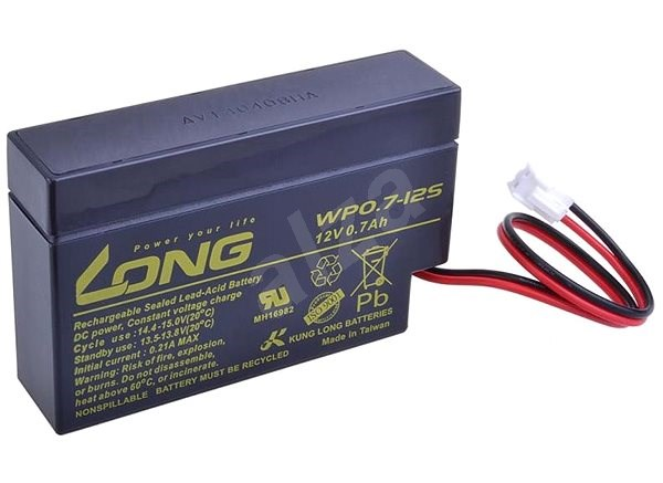 Long 12V 0.7Ah Lead Acid Battery JST (WP0.7-12S) - Rechargeable Battery