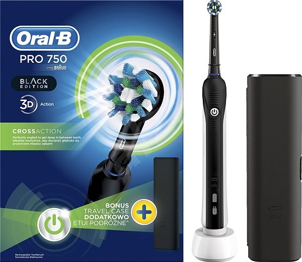 Oral B Pro 750 Black CrossAction + Travel Case - Electric Toothbrush