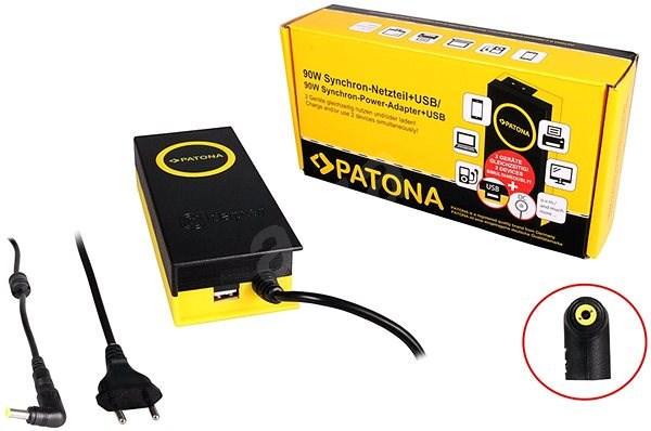 PATONA for Laptops 19V/4.74A 90W,5.5x2.5mm connector + USB output - Adapter