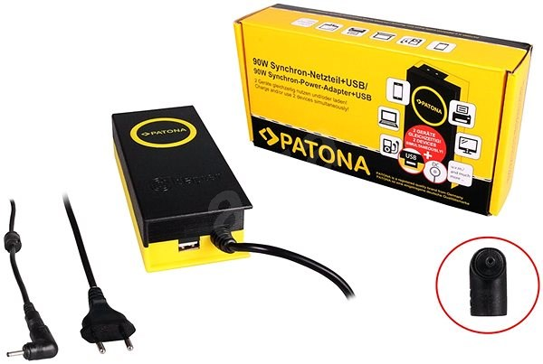 PATONA for Laptops 19V/4.7A 90W, 3x1.1mm connector + USB output - Adapter