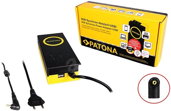 PATONA for laptops 19.5V/4.7A 90W/ 4x1.7mm connectors/+ USB output - Adapter