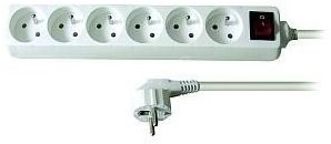 Solight Extension Lead, 6 sockets, white, switch, 3m - Extension Cable