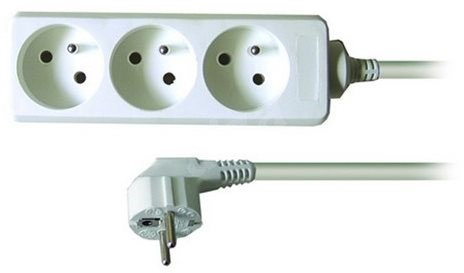Solight Extension Cable, 3 sockets, white, 1.5m - Extension Cable