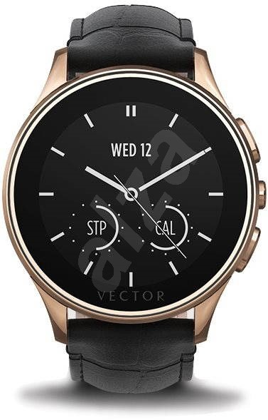 Vector Luna Rose Gold steel with black crocodile leather strap and effect - Smartwatch