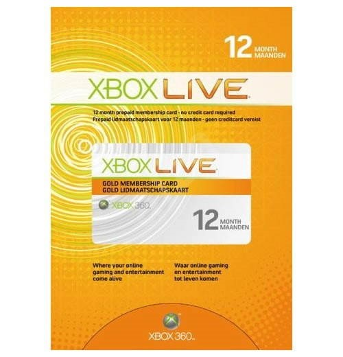 Microsoft Xbox 360 Live 12 Month Gold Membership Card