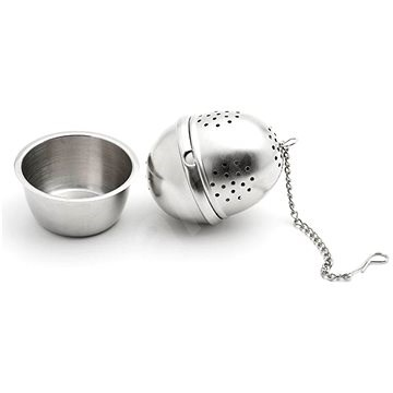 Weis Stainless Steel Egg Shaped Tea Strainer with Drip Tray - Tea Strainer